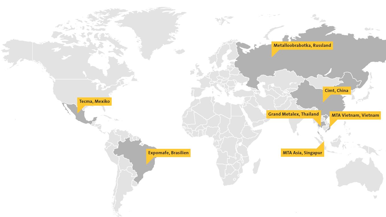 Der VDW unterstützt seine Mitgliedsfirmen bei Eintritten in schwierige Märkte. Kostengünstige Beteiligungen an Gemeinschaftsständen konnten 2017 bei Messen auf drei Kontinenten realisiert werden