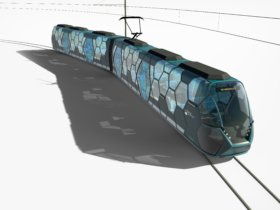 New tram vehicle body concept featuring a hexagonal load-bearing structure based on lightweight construction and an open design with large window surfaces. Photo: Panik Ebner Design