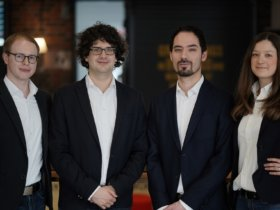 The vision of Amendate's founding team: generative design for every component (from left: Dr. Gereon Deppe, Dr. Thomas Reiher, Steffen Vogelsang, Anne Düchting) Photo: Amendate GmbH