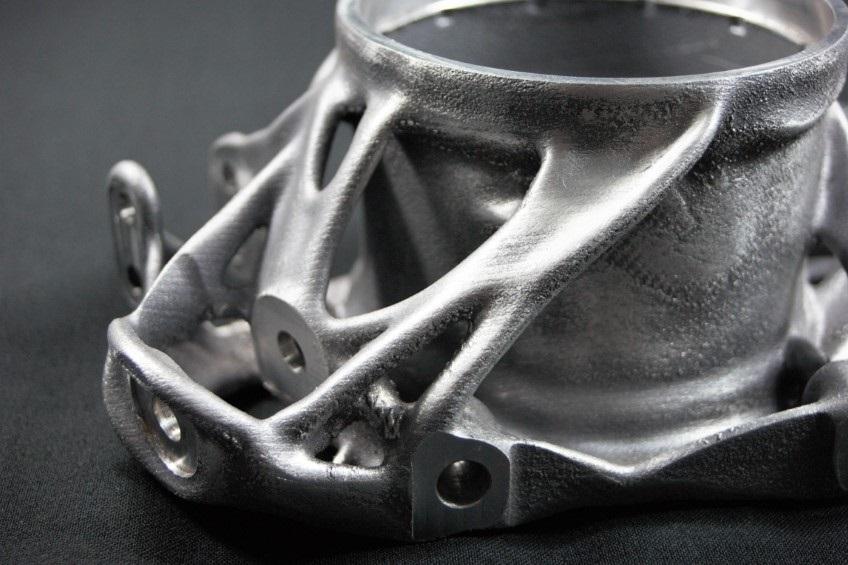 Ideal für die additive Fertigung ausgelegter, von Amendate optimierter Radträger. Foto: Amendate GmbH