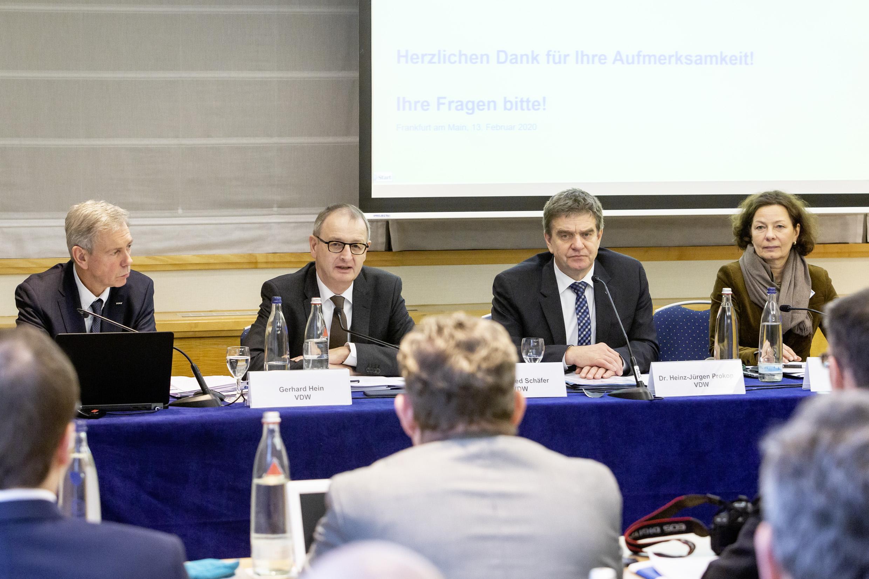VDW-Jahrespressekonferenz 2020: Gerhard Hein, Dr. Wilfried Schäfer, Dr. Heinz-Jürgen Prokop, Sylke Becker (v.l.n.r.)