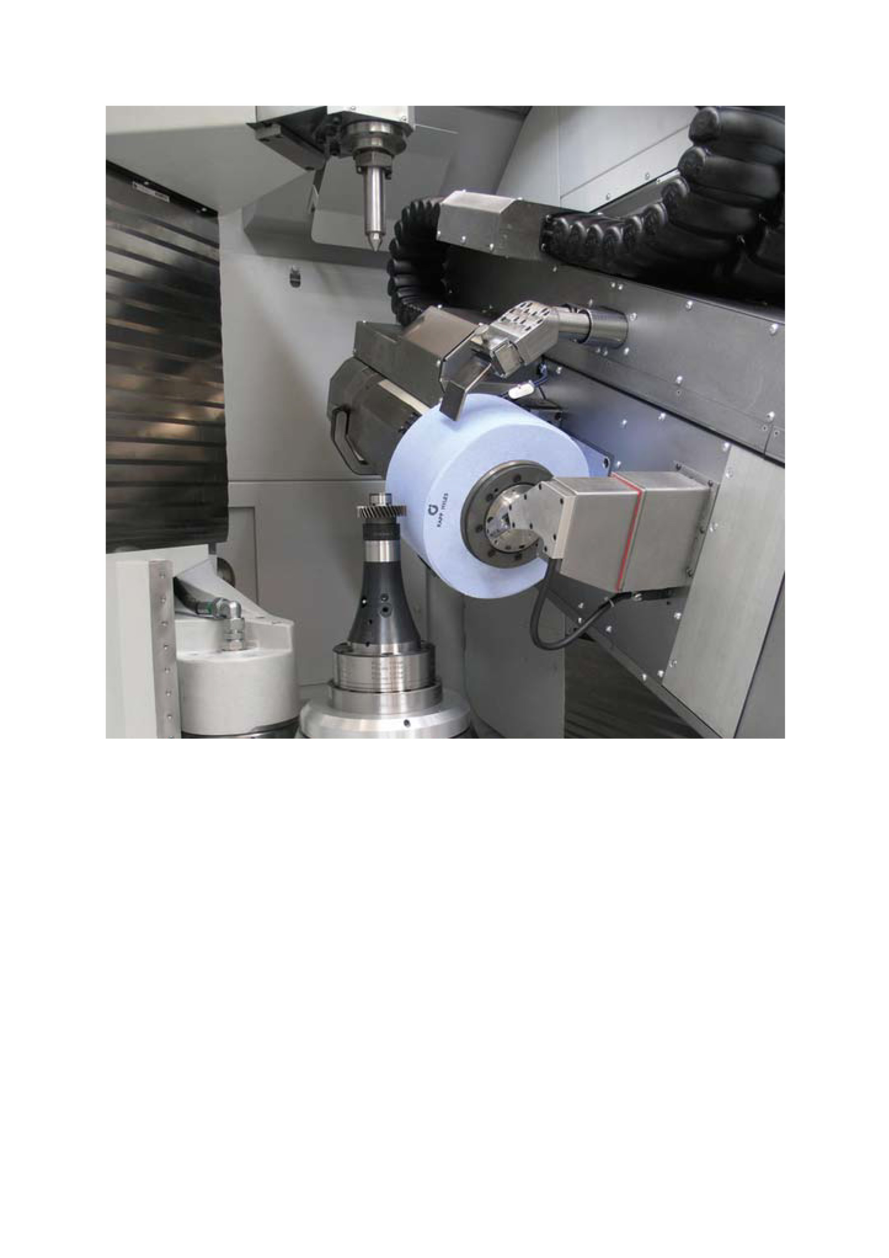 Workspace of a gear grinding machine