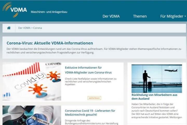 Tagesaktuelle Updates und Informationen zu den Auswirkungen des Coronavirus und COVID-19 stellt der VDMA auf seiner Webseite bereit: www.vdma.org/corona